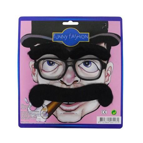 moustache, soucils et lunettes